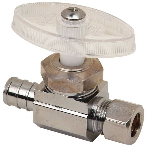 """1/2"""" x 3/8"""" PEX Barb x Compression Chrome Plated Brass Multi-Turn Oval Handle 1-Piece Straight Supply Stop Valve"""