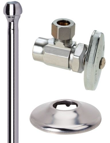 """1/2"""" Sweat 125 PSI Chrome Plated Brass Angle Toilet Faucet Supply Kit"""