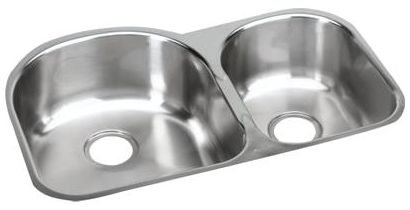 """20"""" x 31-1/4"""" x 8"""" Soft Highlighted Satin 18 Gauge 304 Stainless Steel Double Bowl Kitchen Sink"""