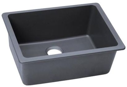 "18-1/2"" x 25"" x 9-1/2"" Dusk Gray Quartz Single Bowl Kitchen Sink"