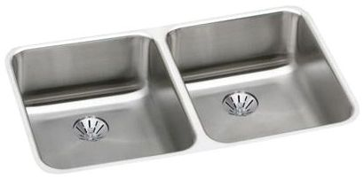 "18-1/2"" x 30-3/4"" x 4-3/8"" Lustertone 18 Gauge 304 Stainless Steel Double Bowl Kitchen Sink"