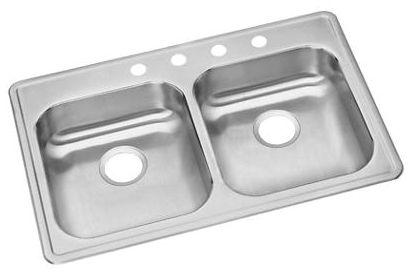 "22"" x 33"" x 5-3/8"" Satin 22 Gauge 300 Stainless Steel 4-Hole Double Bowl Kitchen Sink"