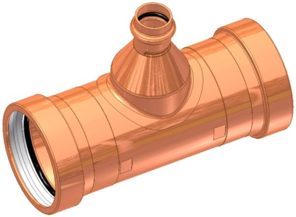 "3"" x 3"" x 1"" C x C x C Copper Reducing Large Diameter Outlet Tee"