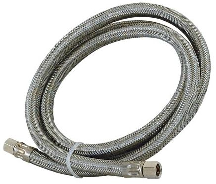 """5' L 1/4"""" x 1/4"""" Compression x Compression Stainless Steel Braided Tube Nickel Plated Brass End Fitting Ice Maker Connector"""
