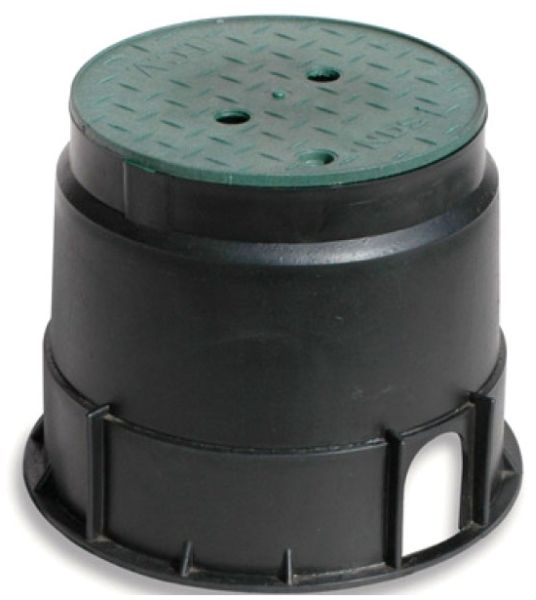 "10"" Black UV Resistant Polypropylene Round Irrigation Control Valve Box W/Green Snap-In Top Lid"