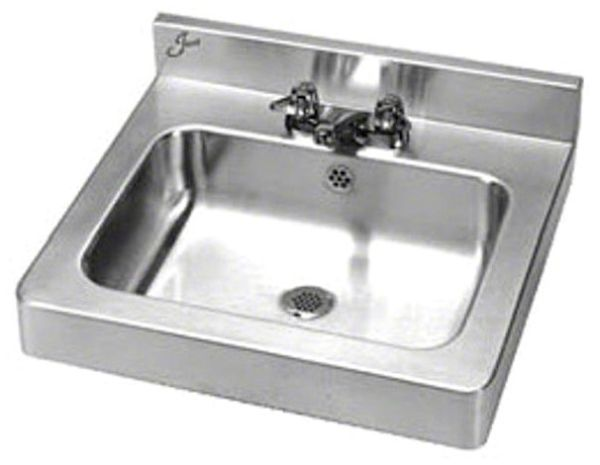 """20"""" x 18"""" x 6"""" Polished Satin Blended No 4 18 Gauge 304 Stainless Steel 3-Hole Rear Rectangle in Rectangle Wall Hung Bathroom Sink"""