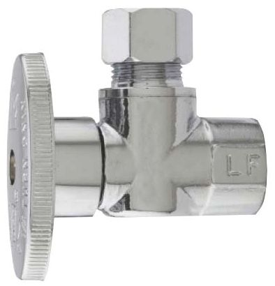 "1/2"" Copper x 3/8"" OD Sweat x Compression Forged High Copper Content Brass 1/4 Turn Angle Ball Valve"