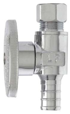 "1/2"" x 3/8"" OD PEX x Compression Forged High Copper Content Brass 1/4 Turn Straight Ball Valve"