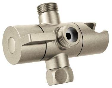 """4-1/8"""" x 1-31/32"""" Brushed Nickel Metal Pivoting 3-Function Shower Arm Diverter"""