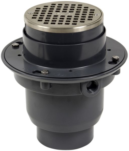 """3 to 4"""" Pipe 8.84 Sq Inch Area PVC Base Round Bottom Flanged Outlet Adjustable Floor Drain"""