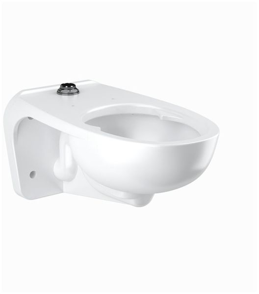 "26-3/4"" x 15"" x 13-1/4"", White, Vitreous China, 1.1 to 1.6 Gallon, 80 PSI, Wall Mount, Rear, Elongated Bowl, Integral Flushing, Toilet"