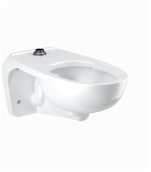 "26-3/4"" x 15"" x 13-1/4"", White, Vitreous China, 1.1 to 1.6 Gallon, 80 PSI, Wall Mount, Rear, Elongated Bowl, Integral Flushing, Toilet"