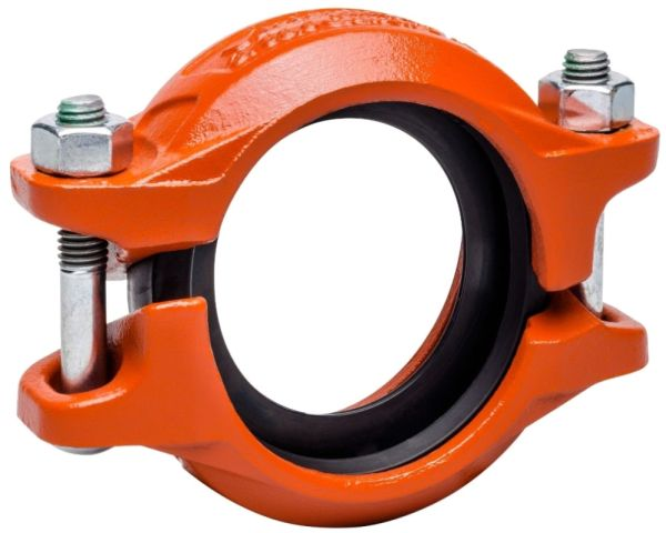 """3"""" x 3"""" 88.9 MM OD Grooved x Grooved Orange Enamel Ductile Iron Rigid Coupling"""