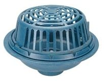 """15"""" Dia 4"""" Pipe 103 Sq Inch Area Dura Coated Cast Iron Low Silhouette Dome Bottom No Hub Outlet Roof Drain W/Polyethylene Dome Deck Clamp"""
