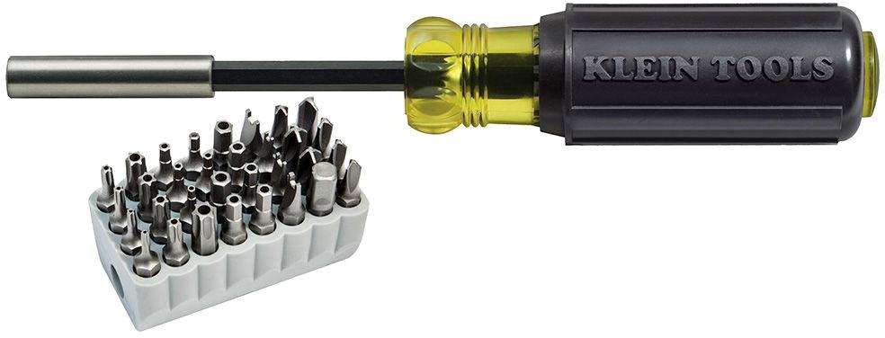 KLEIN 32510 NON-RATCHETING SCR-DRVR MAGNETIC SCREWDRIVER WITH 32 PIECE TAMPERPROOF BIT SET