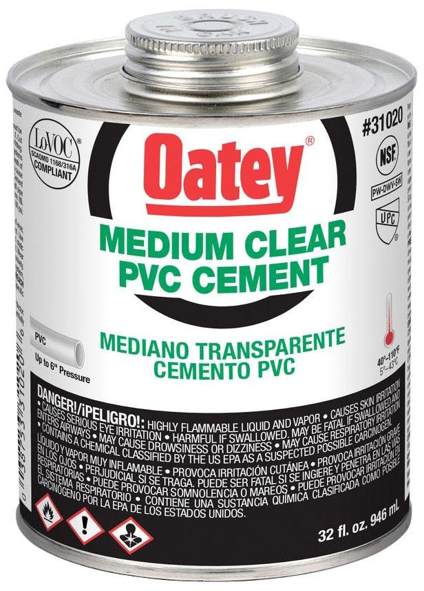 1 QUART PVC MEDIUM CLEAR CEMENT