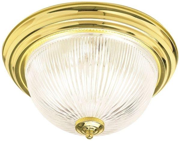 """14"""" Clr Glass Flush Mnt Fixture Brass"""