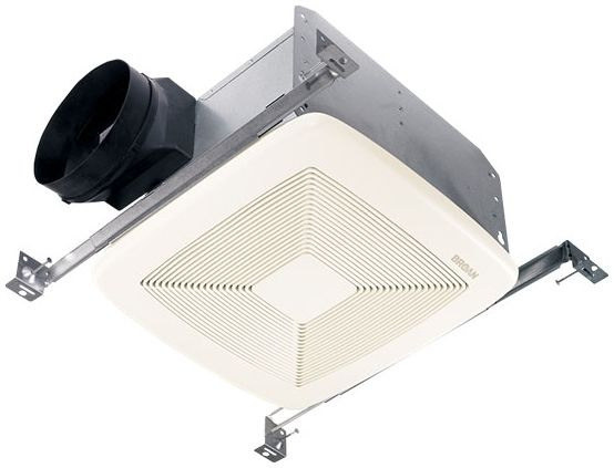 "80 CFM Ceiling Bath and Ventilation Fan - QTXE Series, White Rectangular Polymeric Grill, 10-1/2"" x 11-3/8"" x 7-5/8"", 0.3 Sones"