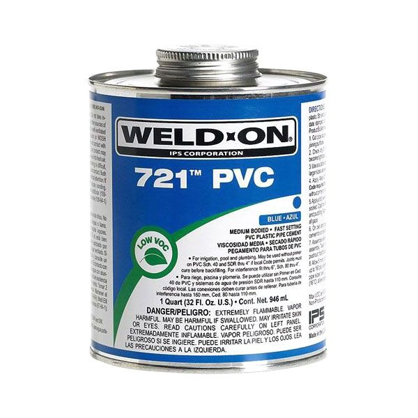 Medium-Bodied PVC Cement - WELD-ON/721, Blue, 1/2 Pint Can
