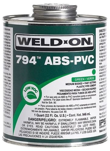 Medium-Bodied PVC Cement - WELD-ON/794, Green, 1/2 Pint Can