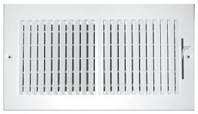 """10"""" x 10"""" x 1-7/16"""", Pristine White Powder Coated, Steel, 2-Way, Sidewall, Ceiling, Stamped Face, Register with Multi-Shutter Damper"""
