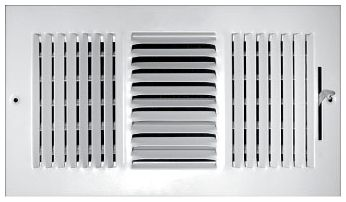"""10"""" x 4"""" x 1-7/16"""", Pristine White Powder Coated, Steel, 3-Way, Sidewall, Ceiling, Stamped Face, Register with Multi-Shutter Damper"""