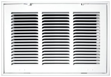 """10"""" x 10"""" x 1.75"""", Pristine White Powder Coated, Steel, Stamped, Fixed Hinge Face, Return Air Filter, Grille"""