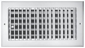 "14"" x 14"" x 2.25"", Pristine White Powder Coated, Steel, Single, Sidewall, Ceiling, Vertical Blade, Adjustable Bar Type Face, Register with Multi-Shutter Damper"