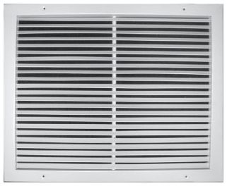 "14"" x 10"" x 13/16"", Pristine White Powder Coated, Steel, Fixed Bar, Heavy Gauge Bar Face, Return Air, Grille"