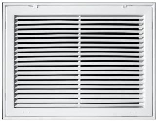 "25"" x 25"" x 1-7/8"", Pristine White Powder Coated, Steel, Fixed Bar, Heavy Gauge Bar Face, Return Air Filter, Grille"