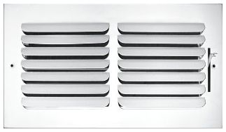 """10"""" x 4"""" x 1.75"""", Pristine White Powder Coated, Steel, 1-Way, Sidewall, Ceiling, Stamped Curved Blade Face, Register with Multi-Shutter Damper"""