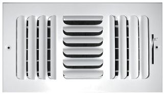 """8"""" x 8"""" x 1.75"""", Pristine White Powder Coated, Steel, 3-Way, Sidewall, Ceiling, Stamped Curved Blade Face, Register with Multi-Shutter Damper"""