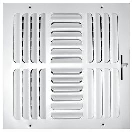 """10"""" x 10"""" x 1-7/8"""", Pristine White Powder Coated, Steel, 4-Way, Sidewall, Ceiling, Stamped Curved Blade Face, Register with Opposed Blade Damper"""