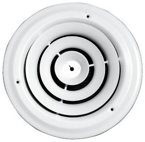 "6"" x 11/16"", Pristine White Powder Coated, Steel, 360D, Round, Ceiling, Step Down, Supply Air, Duct Diffuser with Butterfly Damper"