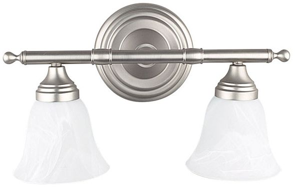 "15"" 2 Light Bath Vanity Fixture Satin Nickel"
