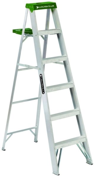 6' Aluminum Step Ladder - 225 Lb, Type II, Green and Silver