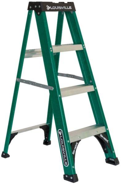 4' Fiberglass Step Ladder - 225 Lb, Type II, Green and Black
