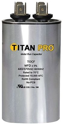 Titan Pro Run Capacitor 25mfd 440/370v Oval