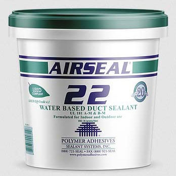 Polymer Adhesives AS22-T Airseal 22 Water Based Duct Sealant 10.5 ounce Tube Gray