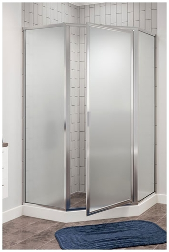 160AK BASCO CH/OBS GLASS FRAMED NEO ANGLE SHOWER DOOR F/ AKER KD-NAS & SP-NAS