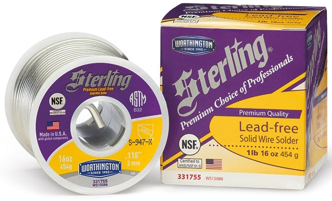 WS15086 1 LB STERLING LEAD FREE SILVER SOLDER WORTHINGTON 331755