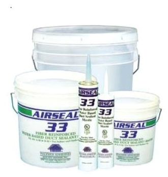 Polymer Adhesives AS33-T Airseal 33 Fiber Reinforced Water Based Duct Sealant 10.5 ounce Tube White
