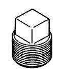 3/4 Black Square Head Steel Plug
