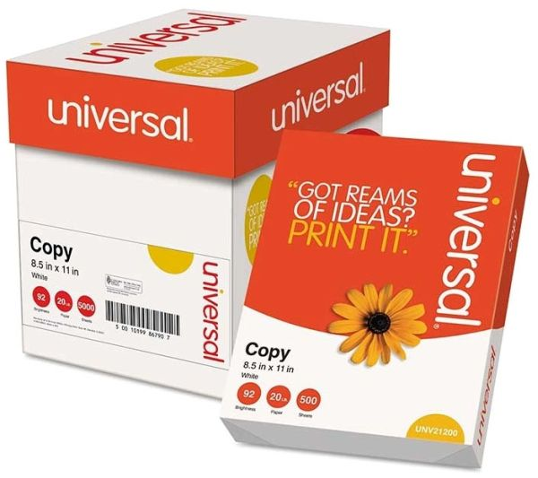 8 1/2x11 White Copy Paper 5 Reams