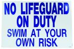 No Lifeguard on Duty Sign - S.C. Approved