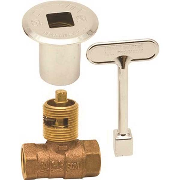 """HearthMaster Log Lighter Valve Kit – ½"""" FPT Brass Valve, Chrome Flange And Key"""