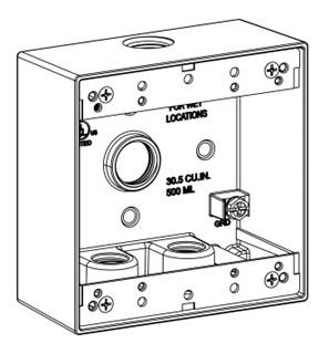 ORBT 2B50-4 2-G W/P BOX 4 1/2IN HUBS 2IN DEEP