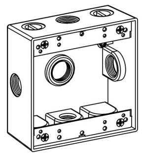 ORBT 2B50-5X 2-G W/P BOX 5 1/2IN HUBS 2IN DEEP