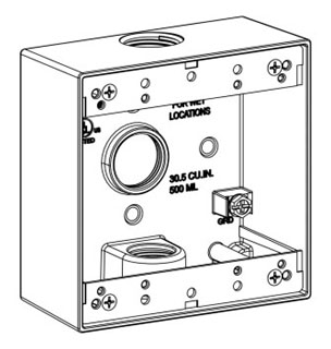 ORBT 2B75-3 2-G W/P BOX 3 3/4IN HUBS 2IN DEEP