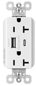 pas PTTR20ACUSBW PAS PLUGTAIL 20A HYBRID AC USB DUPLEX W